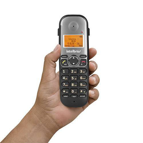 Telefone Sem Fio Intelbras Ts 5120 Viva Voz e Ent. para Fone Preto com Cinza