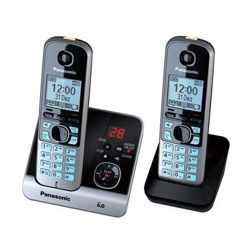 Telefone Sem Fio Panasonic DECT 6.0 com Dois Monofones KX-TG6722LBB Prata - Prata