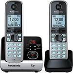Telefone Sem Fio Panasonic Silver com Black Piano Kx-Tg6722Lbb com Backup de Energia