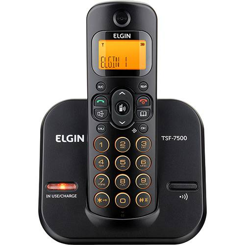 Telefone Sem Fio TSF 7500 Preto com Display LCD Laranja Bivolt - Elgin