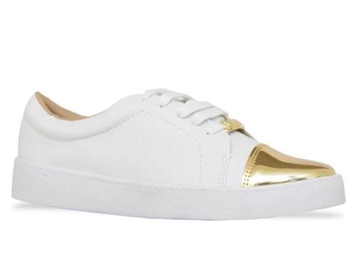 Tenis Bebece Sport Chic Branco Dourado