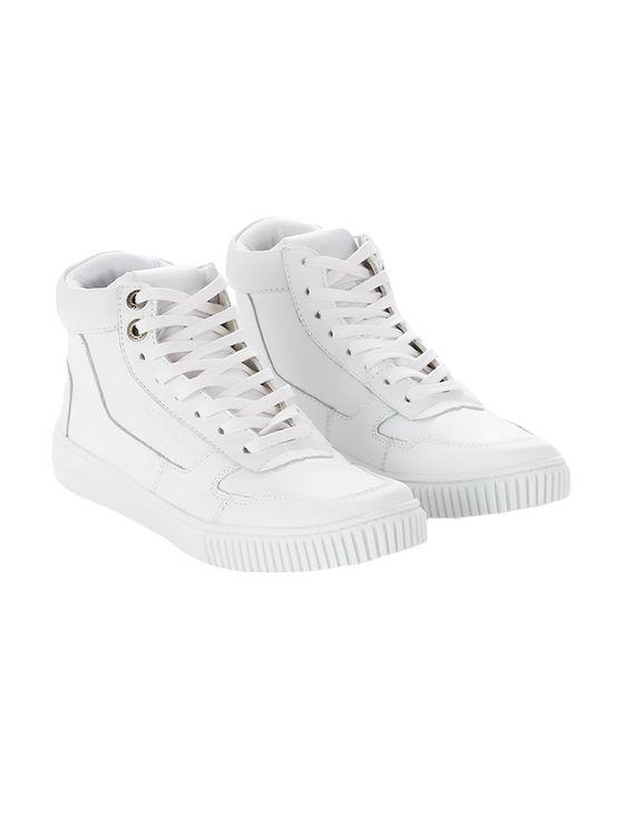 Tênis Calvin Klein Jeans Couro Cano Recortes Branco - 42