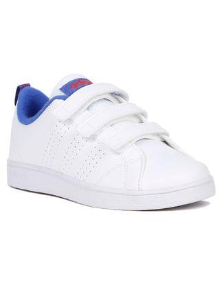 Tênis Casual Adidas Advantage Clean Infantil para Menino - Branco/azul
