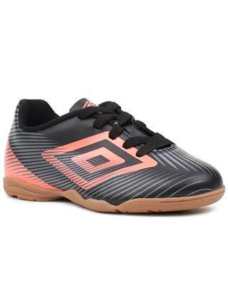 Tênis de Futsal Infantil para Menino Umbro Speed Ii Jr Preto/coral
