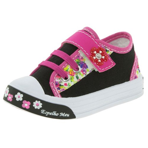 Tênis Infantil Baby Preto/Pink Botinho - 821