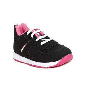 Tênis Infantil para Bebê Menina - Preto/rosa 22