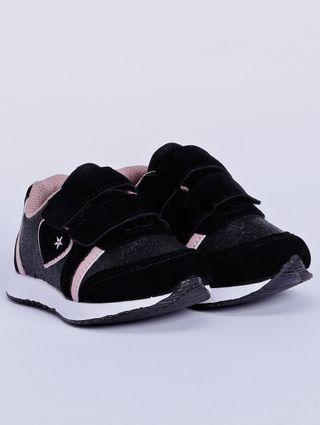 Tênis Infantil para Bebê Menina - Preto/rose