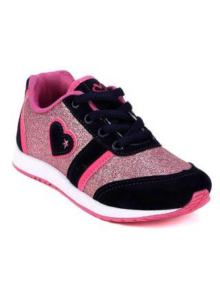 Tênis Infantil para Menina - Azul Marinho/rosa