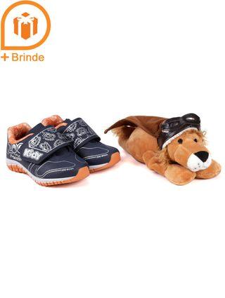 Tênis Kidy Infantil para Bebê Menino - Azul Marinho/laranja