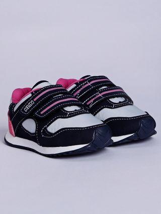 Tênis Klin Infantil para Bebê Menina - Azul Marinho/rosa Pink