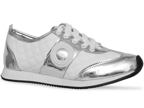 Tenis Moleca Casual Prata Branco
