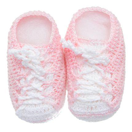 Tênis para Bebe em Tricot Branco/Rosa - Roana