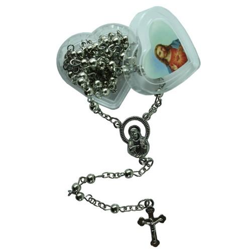 Terço Prata de Sagrado Coração de Jesus com Embalagem | SJO Artigos Religiosos