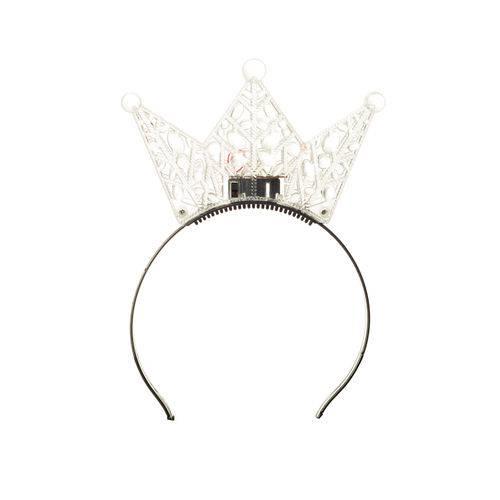 Tiara Acessório Carnaval Coroa Princesa com Led Transparente