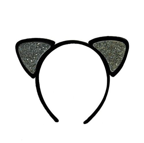 Tiara Gatinha Glitter Prata - Cromus