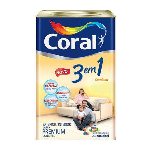 Tinta Acrílica Fosca Premium 3 em 1 Areia 18l Coral