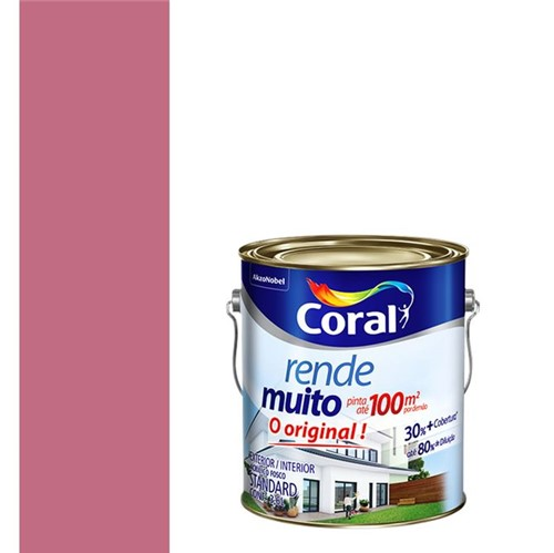 Tinta Acrílica Fosco Rende Muito Rosa Açai 3,6L - Coral - Coral