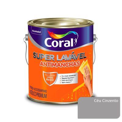 Tinta Acrílica Super Lavável Antimanchas Coral - Céu Cinzento - 3,2 Litros