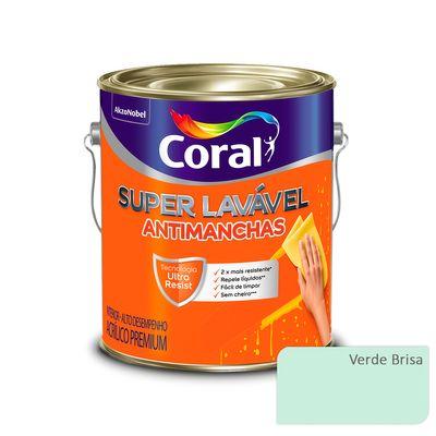 Tinta Acrílica Super Lavável Antimanchas Coral - Verde Brisa - 3,2 Litros