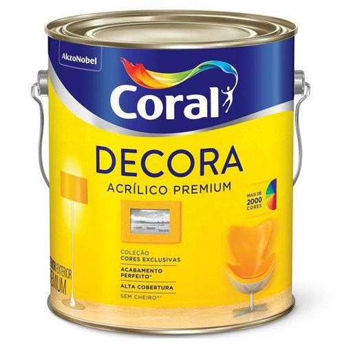 Tinta Coral Acrílica Decora Fosco, Branco, Galão 3,6 Litros