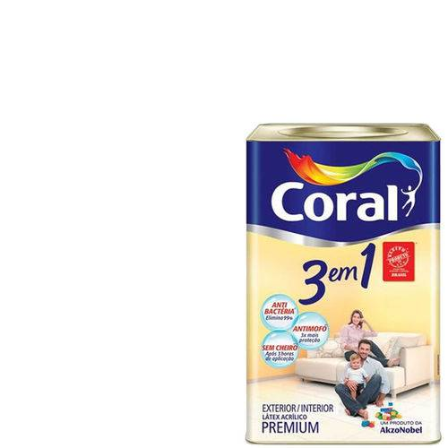 Tinta Coral 3 em 1 Antimofo, Bactéria e Sem Cheiro Branco 18lts
