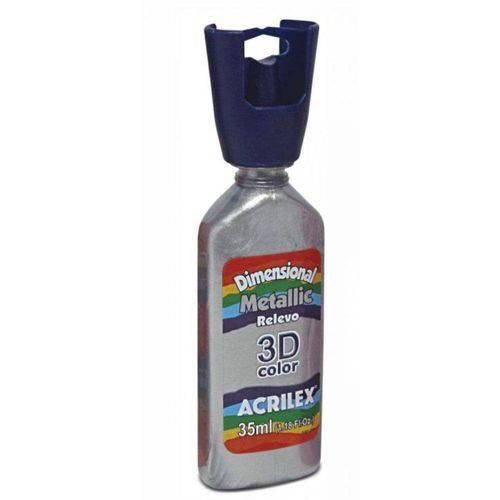 Tinta Dimensional Metallic Relevo 3d Color 35ml Acrilex - Prata