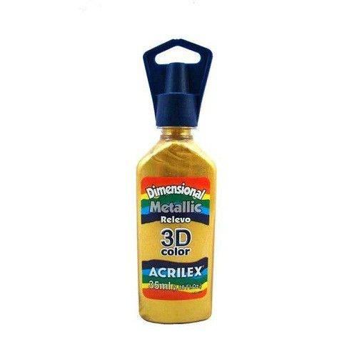 Tinta Dimensional Metallic Relevo 3D Color - Acrilex - 35ml. - Acrilex Tintas Especiais