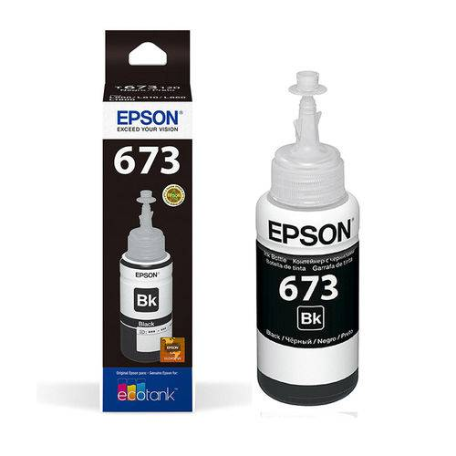 Tinta Epson Refil 673 Ecotank Preto P/ L800 L850 - 70ml