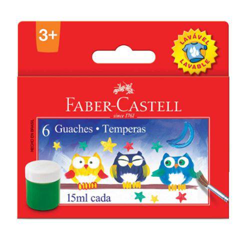 Tinta Guache 06 Cores 15ml Faber Castell