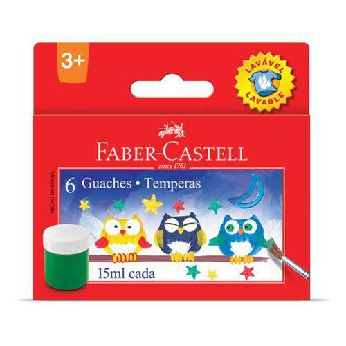 Tinta Guache Faber Castell 15ml - 6 Cores