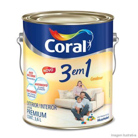 Tinta Látex Premium 3 em 1 Acrílica 3,6 Litros Branco Coral