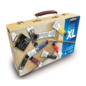 Tinta Óleo Xl Estojo Madeira Starter Case com 8 Cores 20 Ml + Medium Ref.92082 Pébéo
