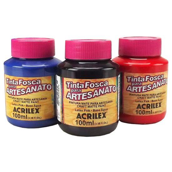 Tinta PVA Fosca para Artesanato Cores Escuras 100ml - Acrilex 501 - Azul Turquesa
