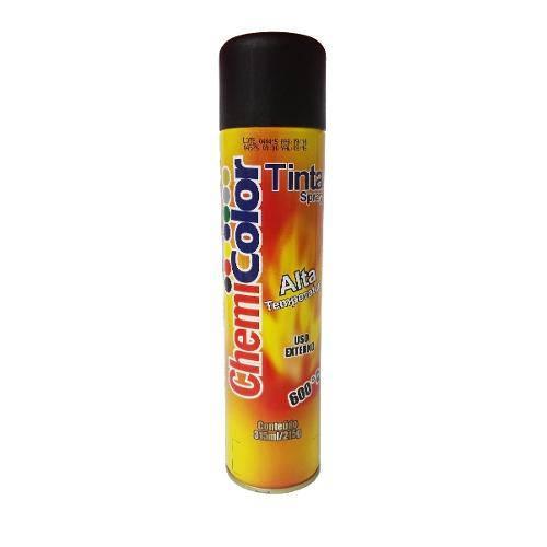 Tinta Spray Chemicolor Preto Fosco Alta Temperatura 350ml.