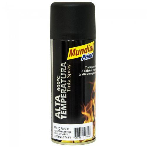 Tinta Spray de Alta Temperatura Preto Fosco 200ml - Mundial Prime