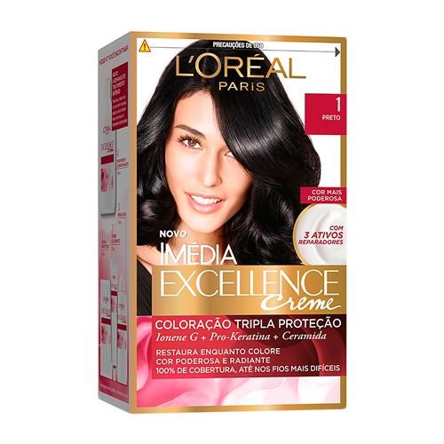 Tintura Creme Imédia Excellence L'oréal Preto 1 Kit