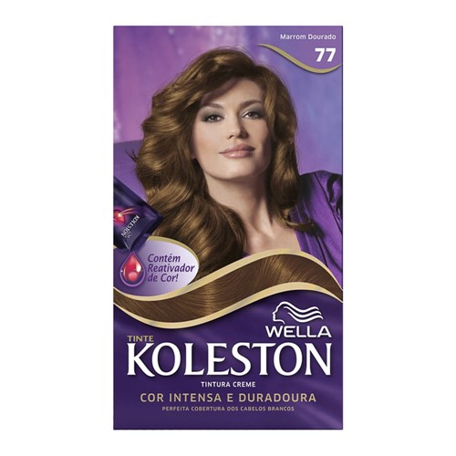 Tintura Creme Koleston Wella Marrom Dourado 77 Kit