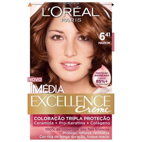 Tintura Imédia Excellence L'Oréal Creme 6.41 Marrom