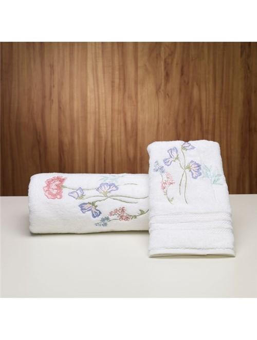 Toalha de Rosto Hawaii Floral Branca 48X90