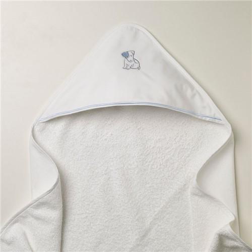Toalha Capuz Cucciolo - Branco-azul - 95x85