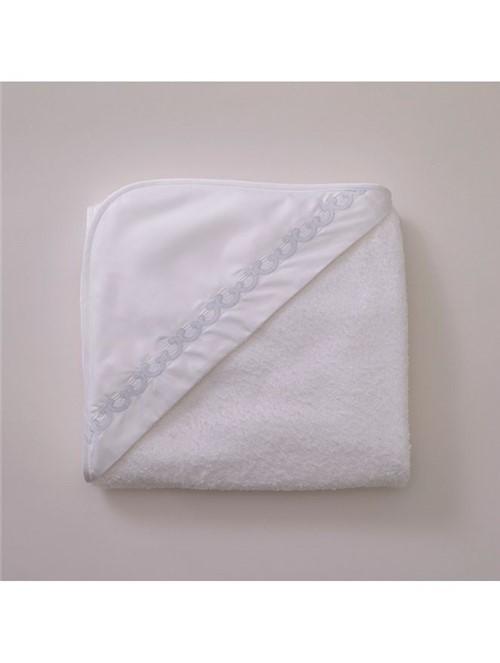 Toalha Capuz Onde - Branco-azul - 95x85