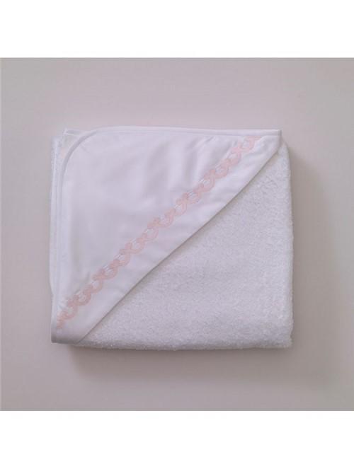 Toalha Capuz Onde - Branco-rosa - 95x85