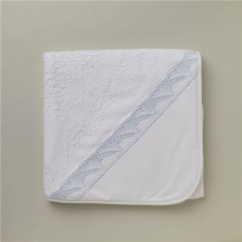 Toalha Capuz Praticello - Branco-azul - 95x85