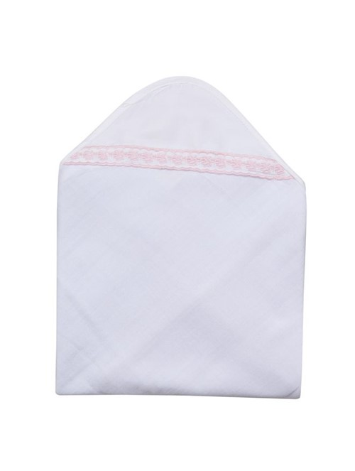 Toalha Capuz Rositas Branco e Rosa 95X85