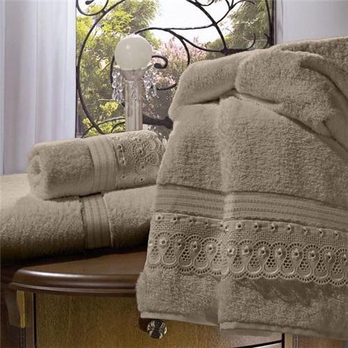 Toalha de Banho 100% Algodão com Bordado Inglês 80X150Cm - Khaki - 44741