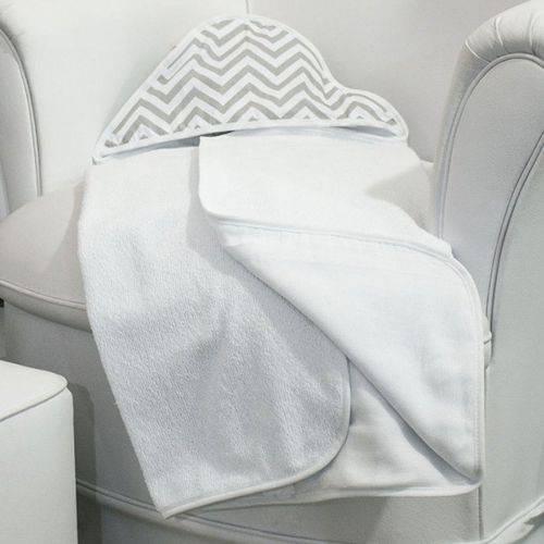 Toalha de Banho Chevron Cinza e Branco com Capuz