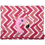 Toalha de Banho com Capuz Bordado e Forro de Fralda - Flamingo Rosa