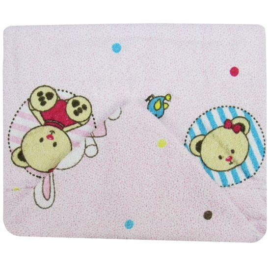 Toalha de Banho Feminina com Capuz Rosa Estampada Ursa e Coelha