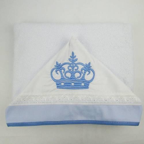 Toalha de Banho Masculina com Capuz Branca Bordada Coroa Azul Claro
