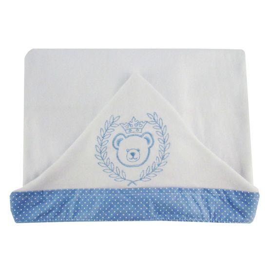 Toalha de Banho Masculina com Capuz Branca Bordada Urso Coroa Azul Claro